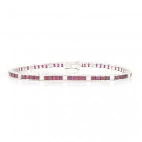 18k White Gold Princess Cut Ruby and Diamond Line Bracelet 6.80ct